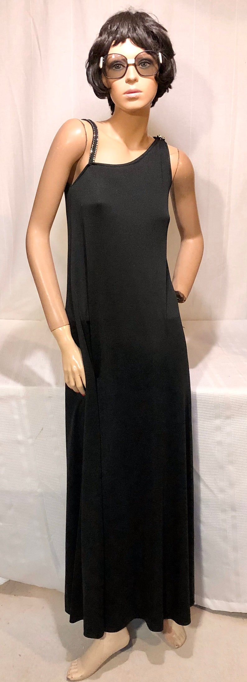 Vtg 70\u2019s Maxi Banlon Dress Gown by PAT RICHARDS Black RHINESTONES on Shoulder Straps-Perfect For Holiday Parties New Year/'s Eve or Disco