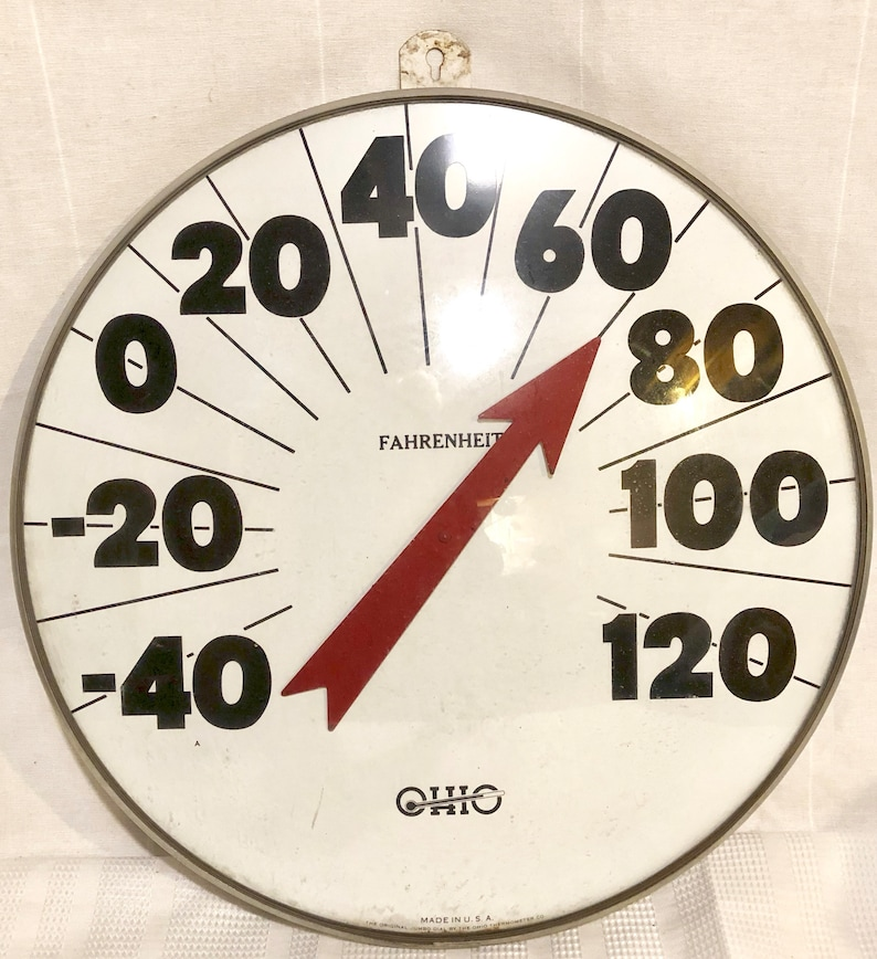 Glass The OHIO  THERMOMETER Co Metal Frame Vintage Curved Glass-1950/'s Original 18\u201d Jumbo Dial SHEPLERS