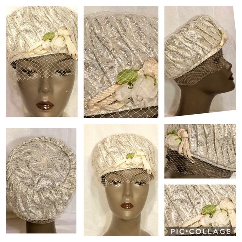 afc7b70dd6c4 Vintage Silver Lame Pillbox Women's Hat with Faux Flowers | Etsy