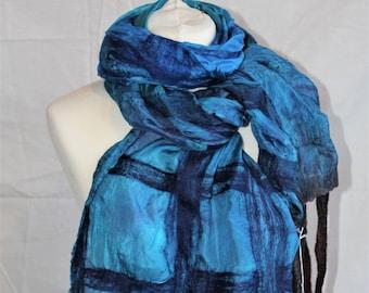 Blue Textured 'Grid' nuno Felted Scarf