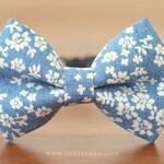 Vintage Denim Flower Cat Bow Tie Collar