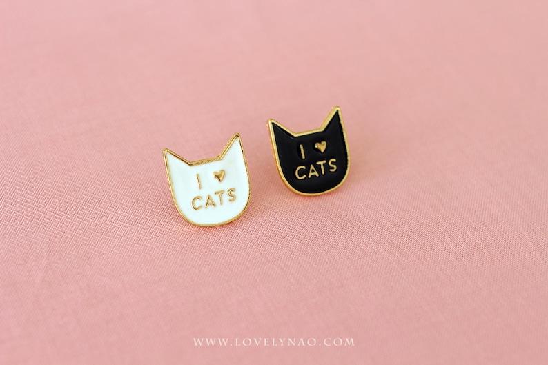Cat Enamel Pin  I love cats 2 COLORS // Cat Pin / Cat image 0