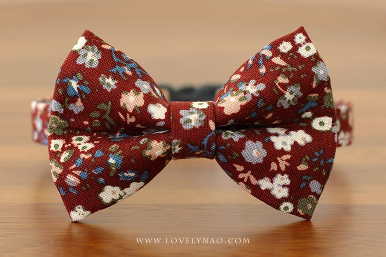 Amelie Cat Bow Tie Collar  Burgundy image 0