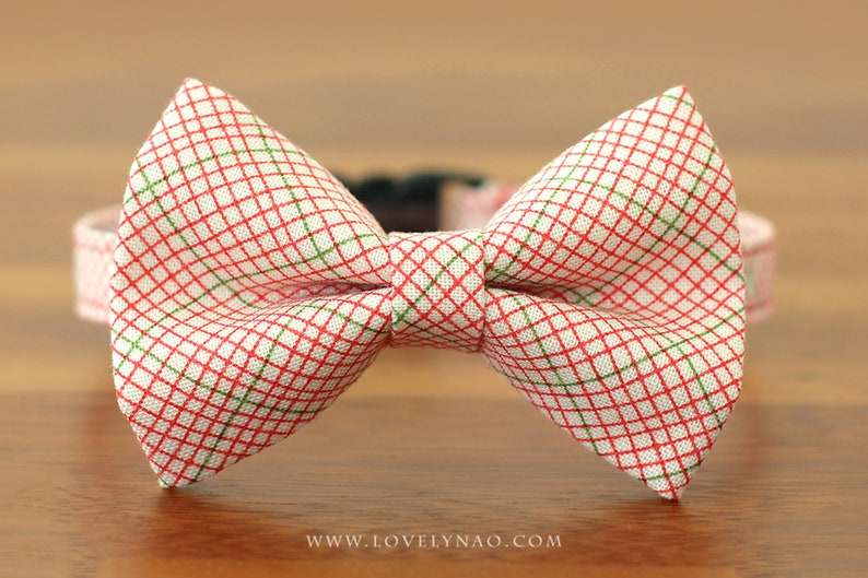Christmas Cat Bow Tie Collar  Christmas Gift / Holiday Cat image 0