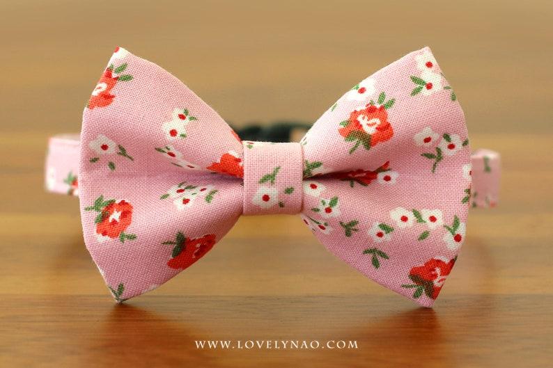 Romantic Rose Cat Bow Tie Collar  Pink image 0