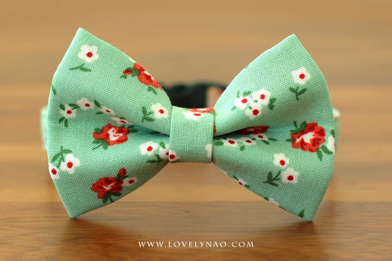 Romantic Rose Cat Bow Tie Collar  Green image 0