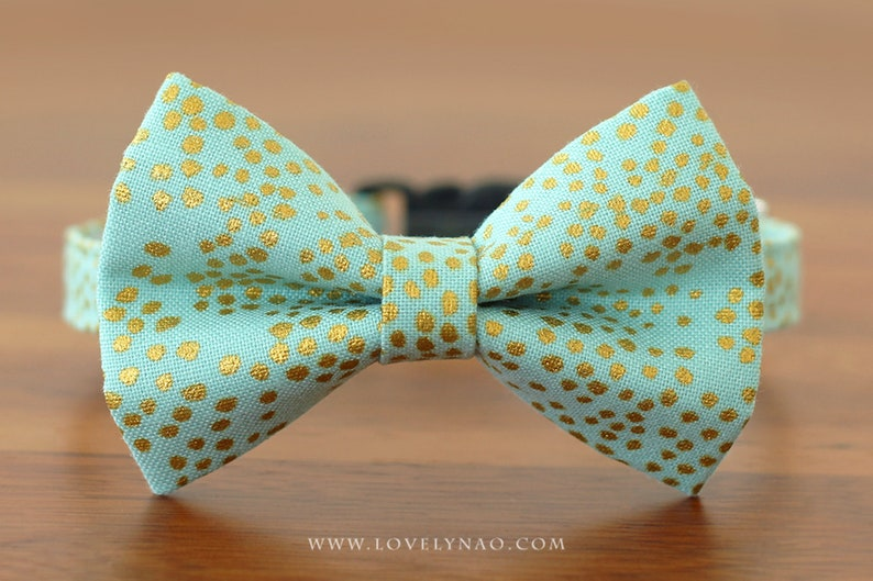 Christmas Cat Bow Tie Collar  Happy Times / Holiday Cat Bow image 0
