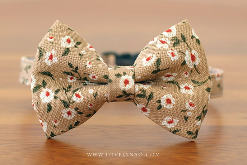 Blooming Dahlia Cat Bow Tie Collar  Brown image 0