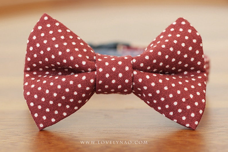 Lovely Dots Cat Bow Tie Collar  Wine Red Burgundy image 0