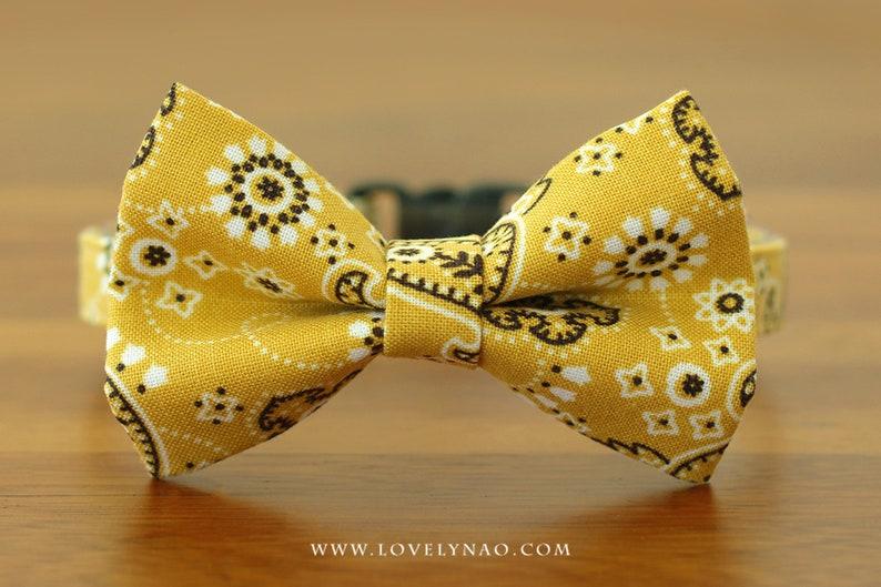 Mini Paisley Cat Bow Tie Collar  Yellow image 0