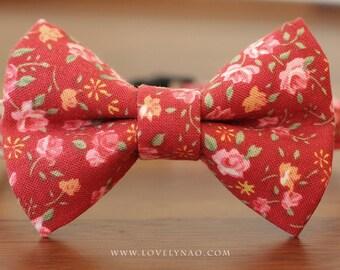 Antique Rose Cat Bow Tie Collar