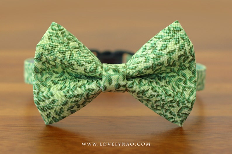 Green Leaf Cat Bow Tie Collar image 0