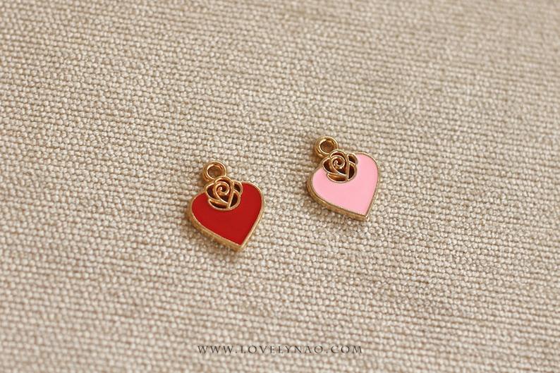 Cat Collar Charm  Rose Heart / Valentine Cat Collar Charm / image 0