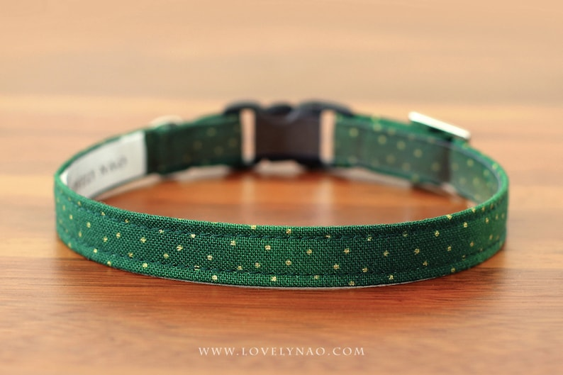 Christmas Cat Collar  Holly Jolly Green / Holiday Cat image 0