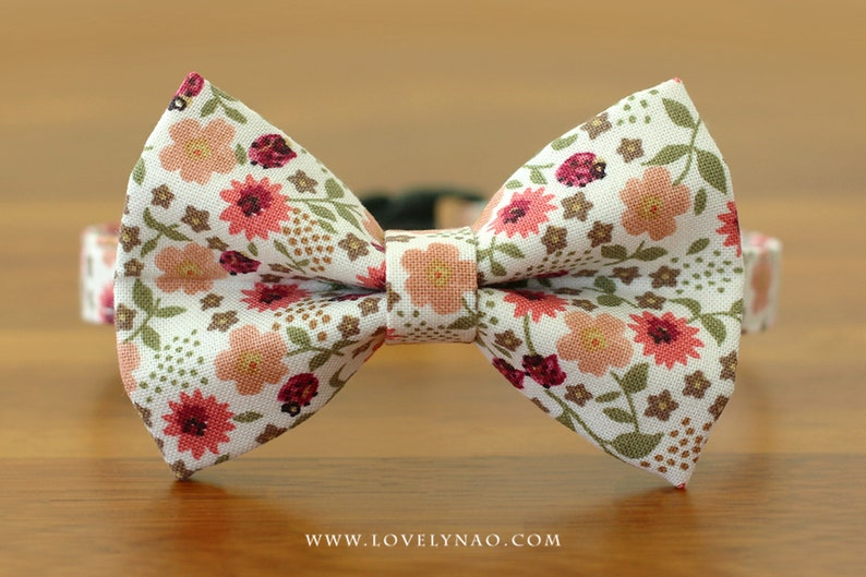 Garden Party Cat Bow Tie Collar  Ivory image 0