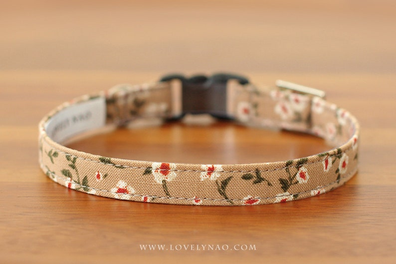 Blooming Dahlia Cat Collar  Brown image 0
