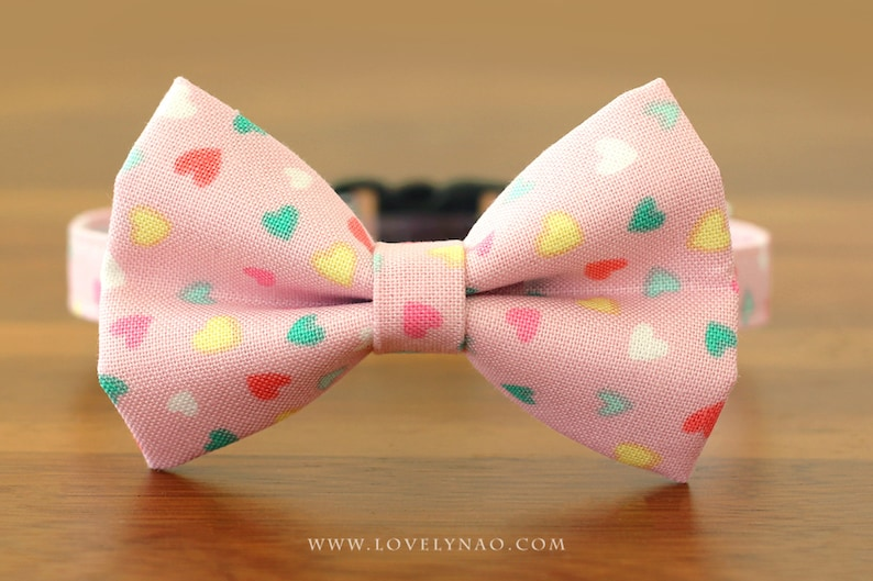 Valentine's Day Cat Bow Tie Collar  Candy Hearts image 0