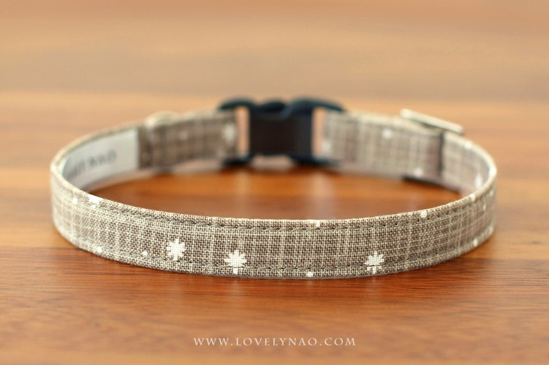 Christmas Cat Collar  Let It Snow Taupe / Holiday Cat image 0