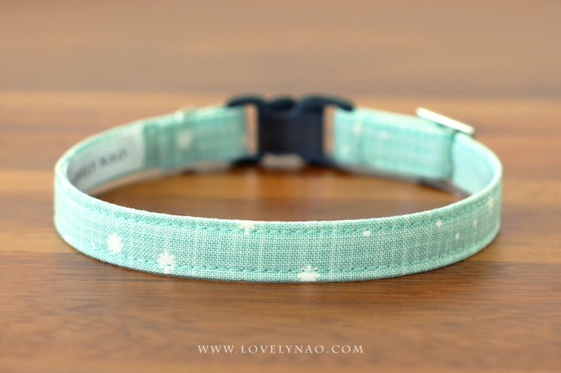 Christmas Cat Collar  Let It Snow Mint / Holiday Cat Collar image 0