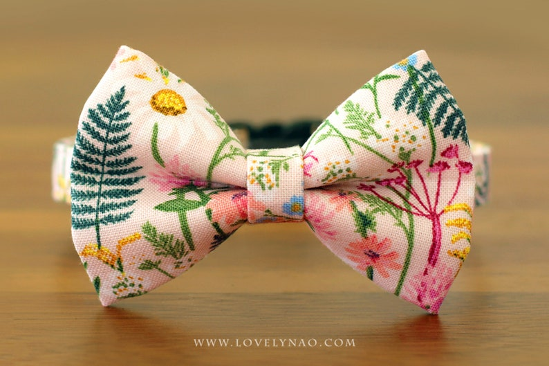 Wildflowers Cat Bow Tie Collar  Pink / Rifle Paper Co® Cat image 0