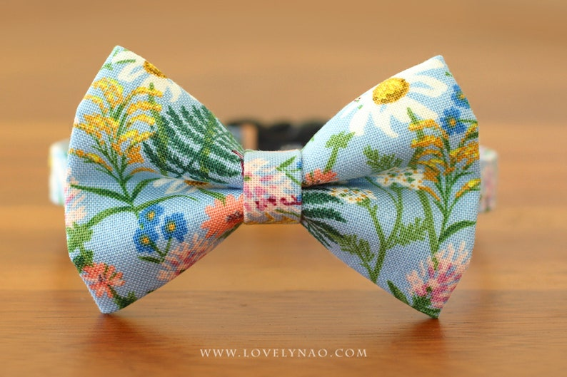 Wildflowers Cat Bow Tie Collar  Blue / Rifle Paper Co® Cat image 0