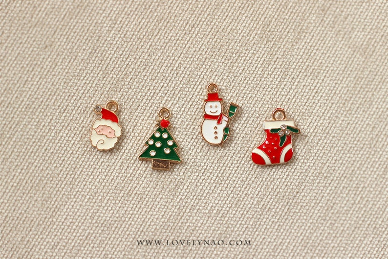 Cat Collar Charm  Merry Christmas Santa Claus Tree image 0