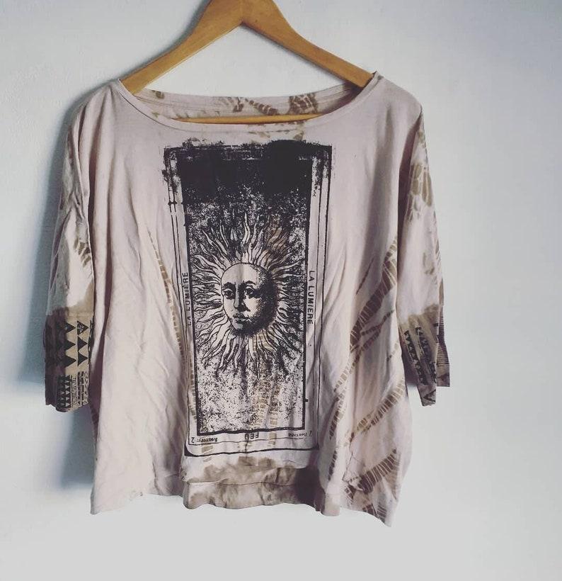 Power of the sun Handmade printscreen loose shirt