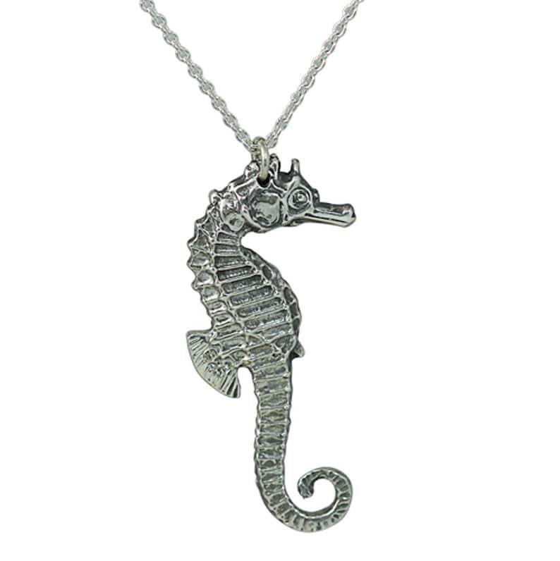 Sea Horse Necklace-Sterling Silver Oxidise Sea Horse Pendant-3 D Pendant-Solid silver Necklace