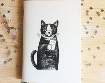 Cat notebook, drawings, thoughts, love, A6