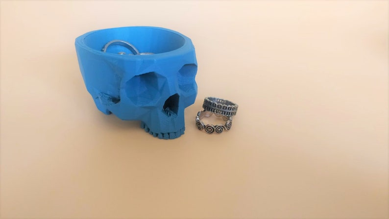 Skull Plant Pot  Matte Blue Extra Small  Planter  Low Poly  Desk Buddy  3D Printed  Ring Dish