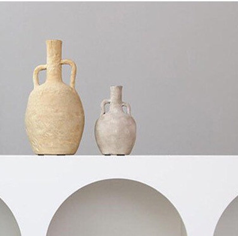 Clay Amphoras Clay Urns / Vases with handles in Mustard image 0