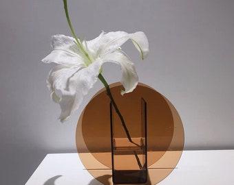 Brown Acrylic Bud Vase, Brown Circle Vase, 17 cm tall