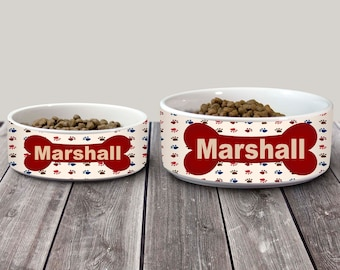 Custom Dog Bowl, Personalized Dog Bowl, Red Dog Bowl, Dog Dish, Dog Food Bowls, Dog Water Bowl, Tan Dog Bowl, Pet food bowl, dog bowl name