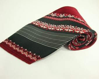 bce662515391 1950s Vintage Floral Regimental Repp, Stripe necktie, Centuries old,Wide Tie/  Fat Tie, Excellent Gift!!!