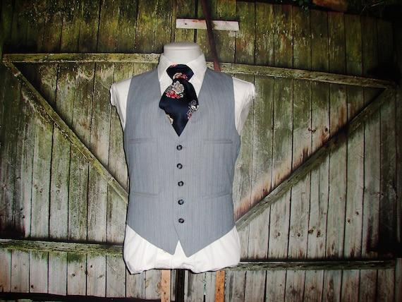 Vintage Men's Suit Vest 1960 Mens Waistcoat Size … - image 3