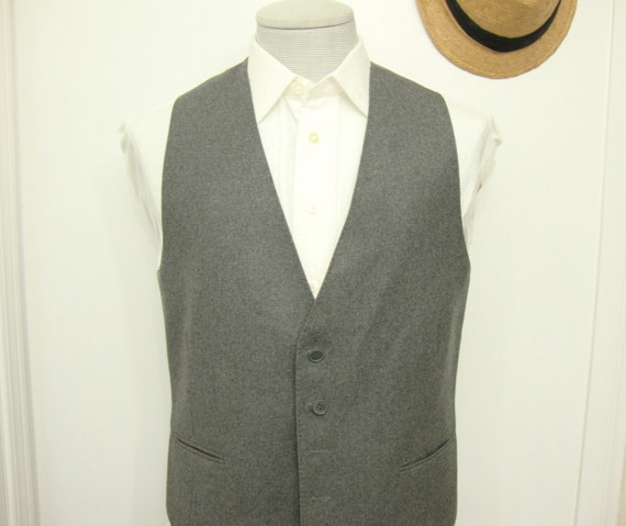 Vintage NINO CERRUTI  Charcoal Gray Plain Wool Ve… - image 2