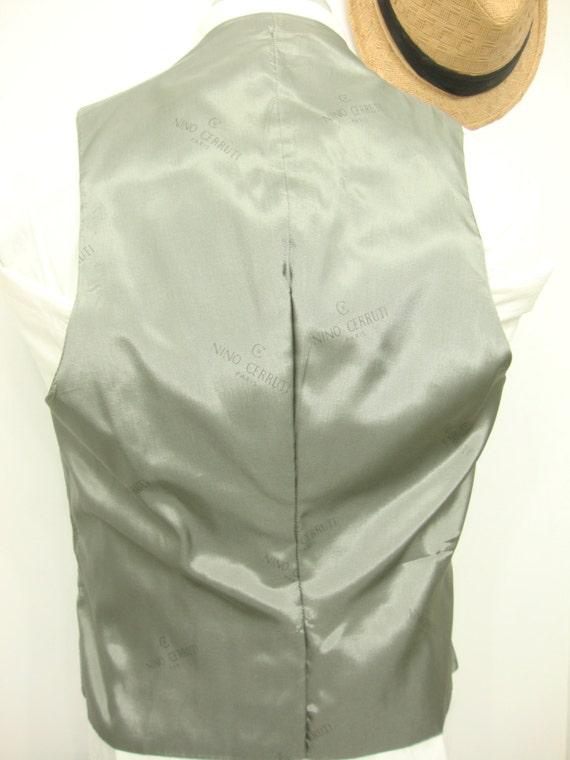 Vintage NINO CERRUTI  Charcoal Gray Plain Wool Ve… - image 4