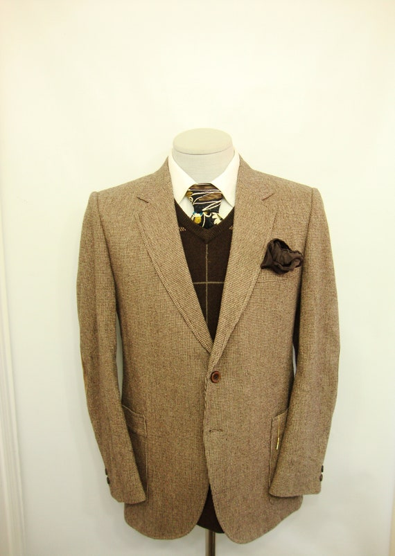 1960s Vintage Elbow Patch Tweed Sport Coat Mens Dirt Brown Wool Suit Jacket  60s Union Made Blazer / Size 38S / M / Medium / Med / Short