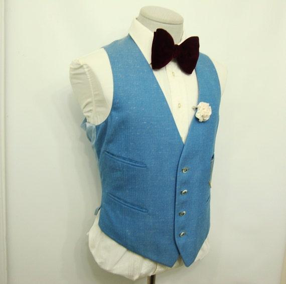 1960s Vintage Mens Wool Sky Blue Waistcoat Vest/ M