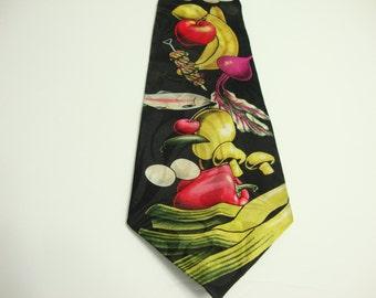 Vintage Chef Necktie / Kitchen Necktie /Men's Food Tie / Novelty Necktie / Vintage Clip Tie
