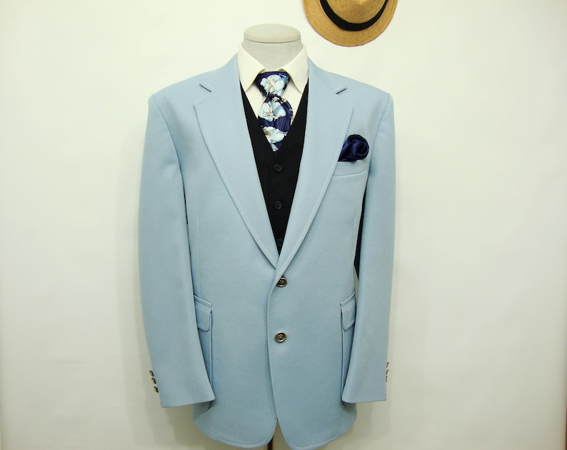 17a7047fa07 Rare Vintage Sky Blue Suit Men s Jacket Polyester and Wool