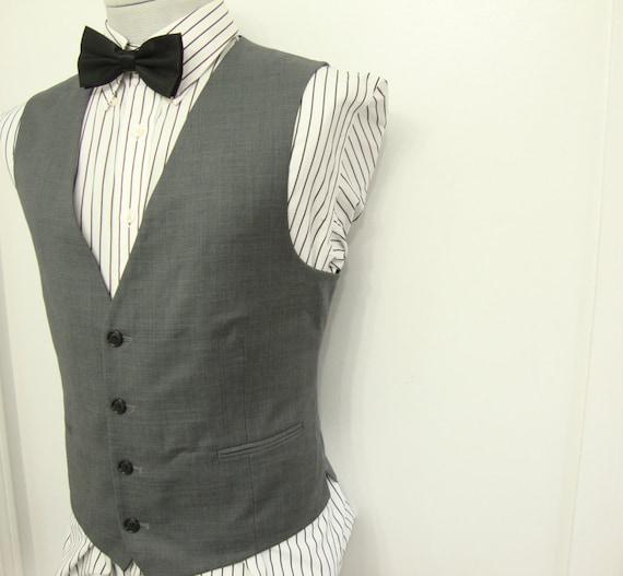 Vintage 1980's Ultra Fine Wool Gray Waistcoat Vest