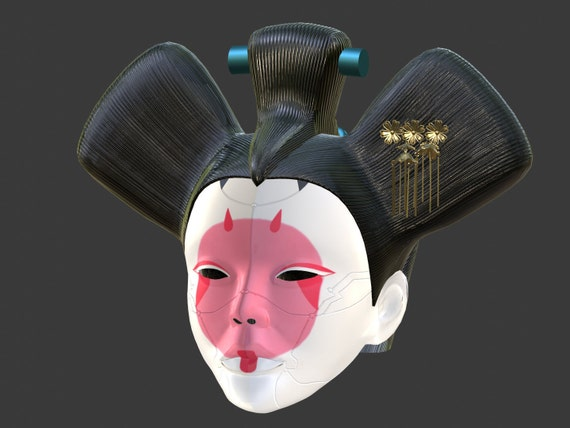 3d Model Of Animatronic Geisha Head From Ghost In The Shell Etsy