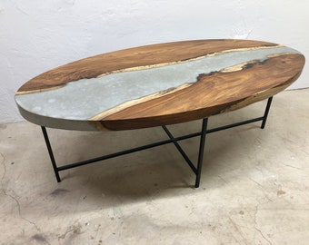 African Rosewood & Concrete River Table Coffee Table Free Shipping
