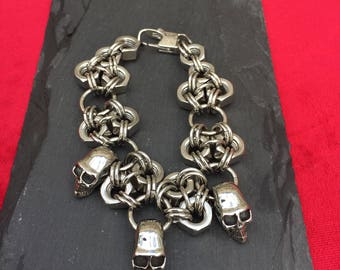 Stainless Steel Skull and Hex Nut Bracelet