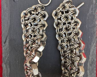 Chunky Stainless Steel Hex Nut Bracelet - 3 strand