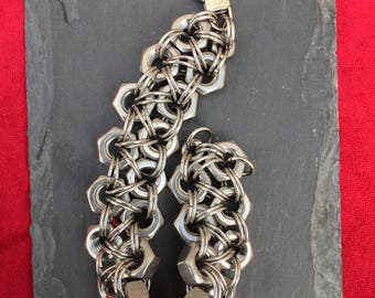 Chunky Stainless Steel Hex Nut Bracelet - double strand