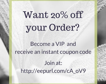 20% off Coupon Code, Free, Sale, Vermont, Aromatherapy, VIP Club, Stay in Touch, VIP Member, BloomingLightVT, Promotion, Blooming Light