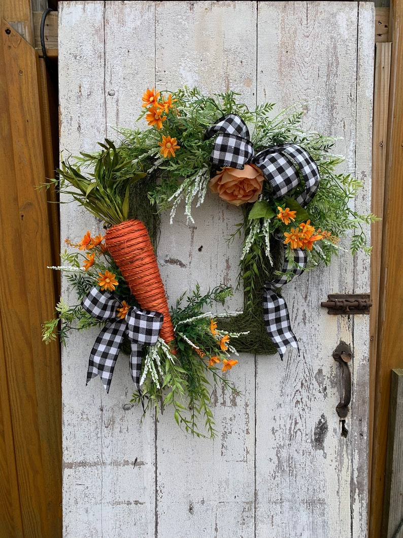Carrot Wreath For Front Door Easter Wreath Spring Wreath For Etsy
