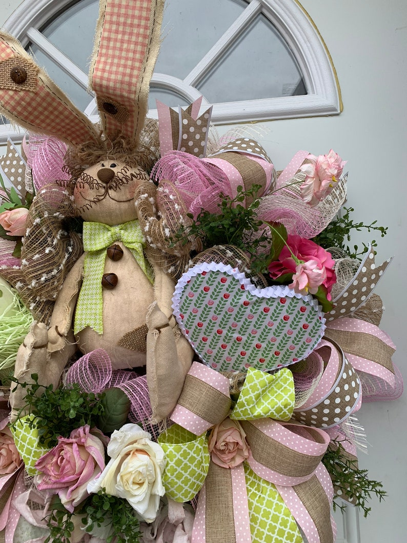 Easter wreath for front door Easter decor Spring wreaths Easter wreaths,Bunny wreath Deco mesh Easter wreaths Spring bunny wreath